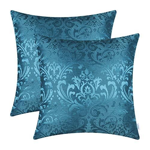 CaliTime - Juego de 2 fundas de cojín, para sofá, decoración del hogar, diseño floral de Damasco, vintage, contraste brillante y opaco, poliéster y mezcla de poliéster, Azul Marino, 45cm x 45cm