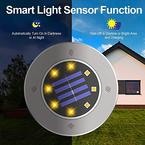 ZGWJ Solar Ground Lights,8 LED Solar Garden Lights Disk Lights Outdoor Waterproof Landscape Lights for Yard Walkway Patio Lawn Driveway Decoration (8 Pack Warm White)