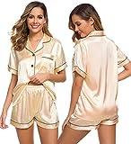 SWOMOG Women's Silk Satin Pajamas Set Short Sleeve Sleepwear Soft Loungewear Button Down Nightwear Champagne