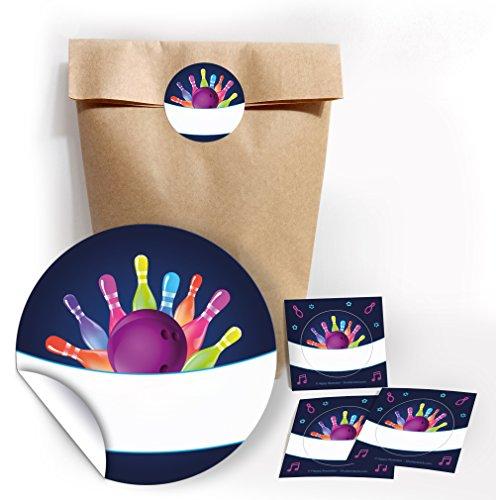 JuNa-Experten 12 Geschenktüten/Natur + 12 Aufkleber Bowling neon für Geschenke Mitgebseln beim Kindergeburtstag / Papierbeutel für Gastgeschenk mit Sticker
