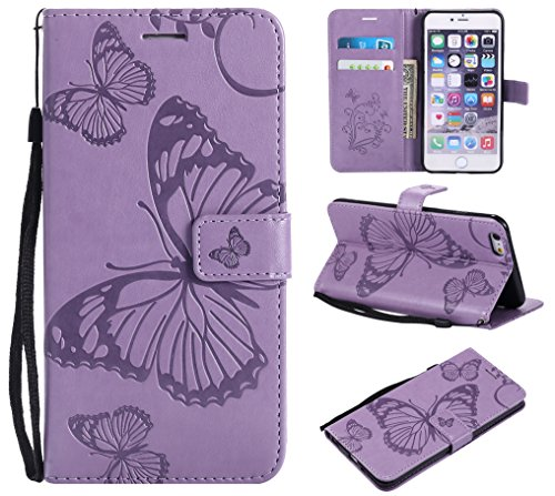 Kihying Funda para Apple iPhone 6 Plus/iPhone 6S Plus Funda Cáscara Case (KT/3D Mariposa Flor) A Prueba de choques Que Cae PU Cuero Caja del teléfono móvil (Púrpura)