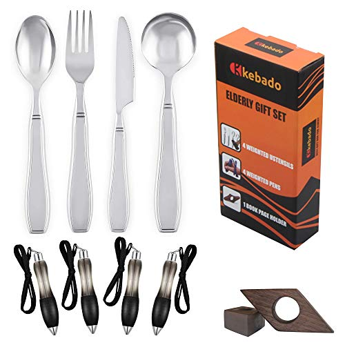 Weighted Utensils Gift Box For Elderly Aids - 9-Pack, Parkinsons, Fat Pen, Book Page Holder, Gifts For Elderly Men Dad Woman Mom, Parkinson Spoon, Hand Tremors, Arthritis