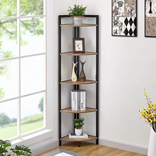 FATORRI Industrial Corner Bookshelf, 5 Tier Tall Corner Bookcase, Wood and Metal Corner Shelf Stand (Rustic Oak)