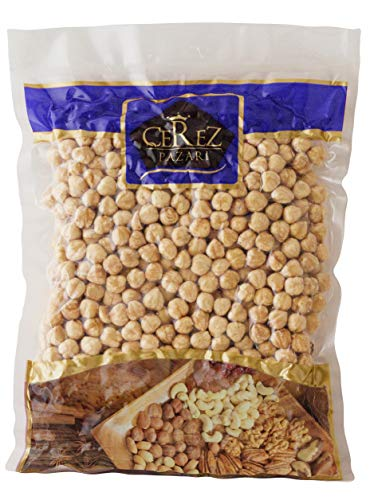 Cerez Pazari Turkish Hazelnuts Double Roasted, Non-GMO, Unsalted, Blanched, No Shell, Natural, Premium Quality, Crunchy Taste Healthy Snacks for Keto, Paleo, or Vegetarian Diet (1 Lb)