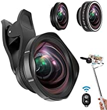 Phone Camera Lens Kit, ARORY 3 in 1 Cell Phone Lens Kit with Selfie Stick,0.6X Wide Angle Lens/12X Macro Lens/198°Fisheye Lens, Clip-On Lenses for iPhone 8 7 6 Plus + Remote Shutter