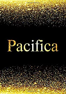 Pacifica Notebook: Personalized Journal to Write In Notebook - Printed Glitter Black and Gold , Notebook Journal - 110 pages, 7x10 inch. Christmas gift , birthday gift idea