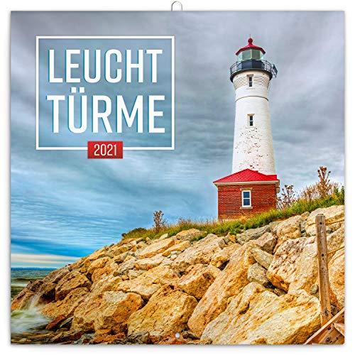 Leuchttürme Wandkalender 2021 Kalender, Broschürenkalender mit Monatskalendarium, Broschurkalender Posterkalender 30 x 30 cm (30x60 Geöffnet)