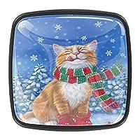 キッチンキャビネットノブ4個セット-プルノブ引き出しとドレッサーハンドル- 冬の猫のクリスマス