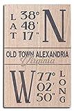 Old Town Alejandría, Virginia, Latitud y Longitude, azul, impresiones...
