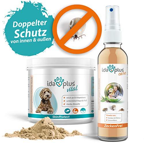 Ida Plus Zeckenschutz Set - Zeckenschutz für Hunde - Zeckenfrei 200ml - Zeckenspray für Hunde gegen Zecken, Mücken, Flöhe - SkinProtect 250g - unterstützt Haut & Fell - stärkt die natürliche Abwehr