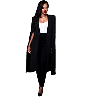 Women Blazer Long Plain Shawl Sleeveless Open Front Longline Women's Blazer Jacket Coat Cape Cover Up