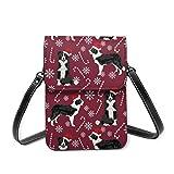 Bolsa de hombro pequeña, Border Collie bastones de caramelo, copos de nieve, perro, rubí, bolsa cruzada para teléfono celular, cartera ligera para mujeres y niñas