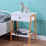 GOLDFAN Table de Chevet à 2 étages avec Tiroir en Bois de pin Basse de Rangement D'appoint pour Salon Chambre à Coucher, Clanc