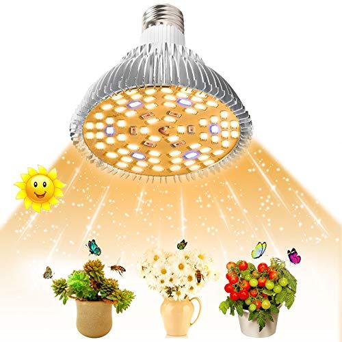 SINJIA 50W LED Pflanzenlampe,E27 78 LEDs Vollspektrum Pflanzenlicht LED Grow Light für Garten Gewächshaus Zimmerpflanzen Sämling Gemüse, Blumen[Energieklasse A++] (50w)