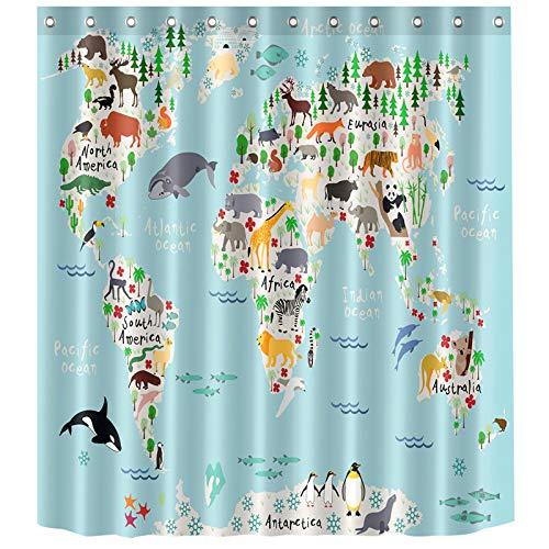 laamei Cortina de Baño Infantil, 3D Digital Impresión Cortina de Ducha de Poliéster Impermeable Resistente al Moho Bañera Decorativa con Ganchos 180cmx180cm (Dibujo Animado Mapa)