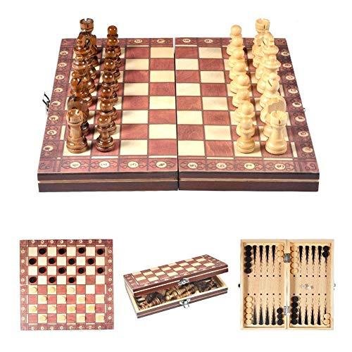 Alupre 3 en 1 Juego de ajedrez Tablero de ajedrez Plegable de Viaje magnético de Madera International Game