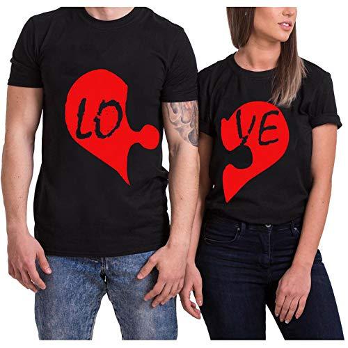 Día de San Valentín Camiseta con Estampado Love para Mujer Blusa de Manga Corta con Cuello Redondo Casual...