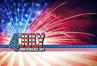 GooEoo 7×5フィート写真の背景7月4日独立記念日ビニール写真の背景アメリカの国旗光沢のある花火ナショナルデー自由平和式装飾写真背景スタジオ小道具