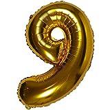 DIWULI, Globos de número XL, número 9, Globos de Oro, Globos de número de Oro, Globos de Papel de Aluminio número no años, Globos de Papel de Aluminio 9 cumpleaños, Boda, Fiesta, decoración