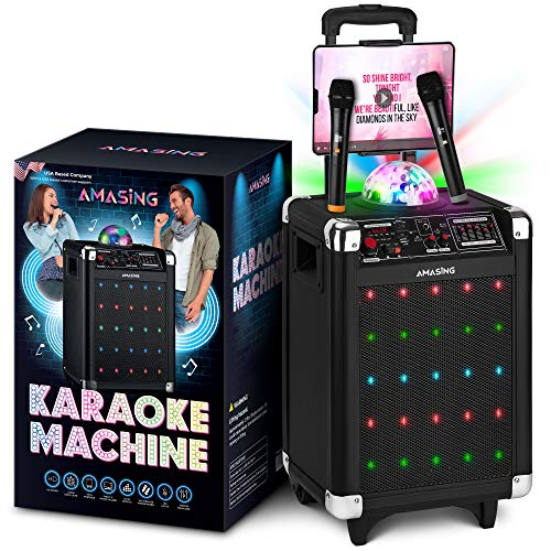Karaoke Machine for Adults and Kids, Bluetooth Portable Singing PA Speaker System + 2 Wireless Dual Microphones + LED & Disco Lights + TV and Aux Cable. Best Gift for Boys & Girls (2 Pack)