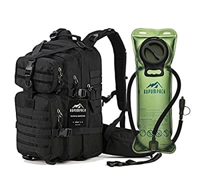 RUPUMPACK Military Tactical Backpack Hydration Backpack, Army MOLLE Bag, Small 3-Day Rucksack for Outdoor Hiking Camping Trekking Hunting School Daypack, 33L