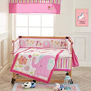 Wowelife Elephant Crib Bedding Sets Upgraded Pink 9 Piece Elephant Nursery Bedding with Diaper Stacker