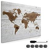 Navaris Tablero de Notas magnético - Pizarra con diseño de Mapa Mundial - Pizarra magnética con Marcador Negro y 5 imanes - 70 x 50CM