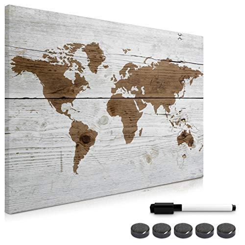 Navaris Memo Board Lavagna Magnetica 70x50cm - Lavagnetta Scrivibile Cancellabile con 1x Pennarello e 5X Calamite - Bacheca Design Mappamondo