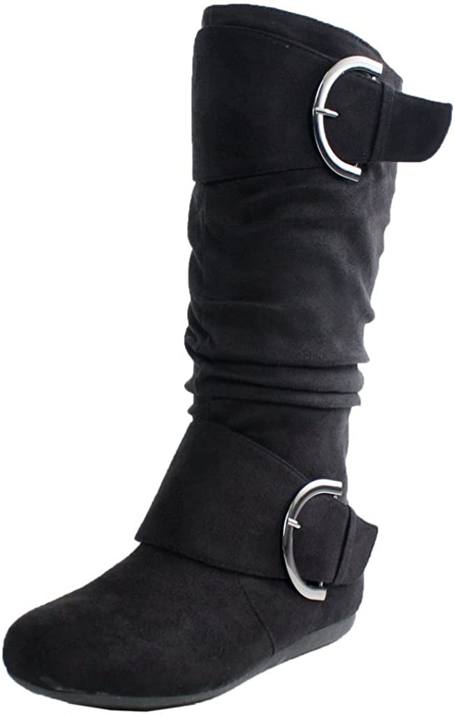 TOP Moda Womens Bank-81 Mid Calf Round Toe Buckle Slouched Flat Boots