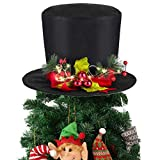 Yomikoo Christmas Tree Topper,Black Holly Top Hat Ornament for X'Mas/Holiday/Winter Wonderland Party Decoration Supplies