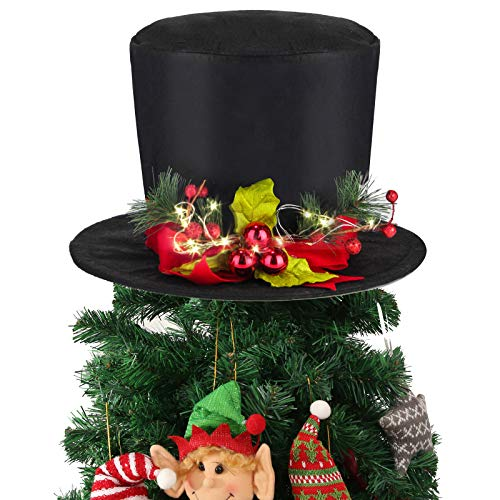 Yomikoo Lighted Christmas Tree Topper, Holly Black Hat Tree Decoration with 3 Dolls Ornament for X'Mas/Holiday/Winter Wonderland Party Decoration Supplies