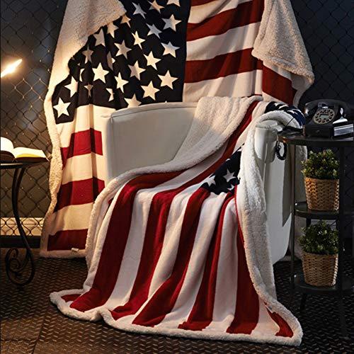 worclub Manta del Tiro del paño Grueso y Suave de la Bandera Americana, Manta de la Franela de la Bandera de los EEUU del Vintage para la Cama/el sofá/Que acampa/Trave