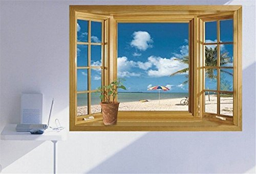 He Yang Window 3D Beach View Flowers Sea Wall Stickers art Mural Decal Wallpaper Living 3D Green Vew Flowers Plant Wall Stickers art Mural Decal Wallpaper by He Yang