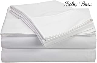 Rolux linen Queen Sleeper Sofa Bed Sheet Set - White Solid 100% Cotton 800 Thread Count Fit Up to 5