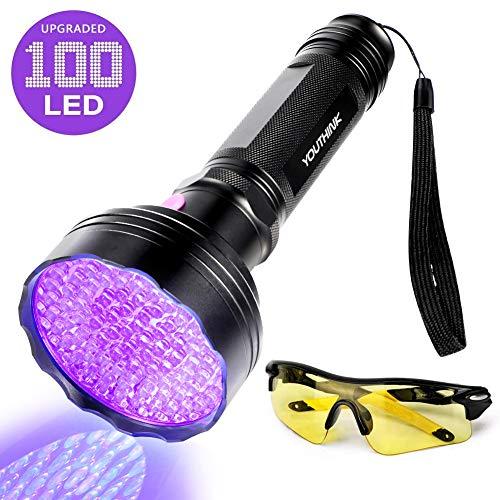 UV Taschenlampe 100 LED Ultraviolett Lampe 395nm Haustiere Urin-Detektor UV Handlampe Leuchte mit UV-Schutzbrille für unechte Banknoten, Urin von Hunde, Katzen und andere Haustiere