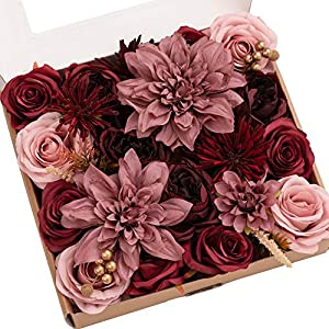 Ling's moment Artificial Flowers Dahlia Flowers Combo for DIY Wedding Bouquets Centerpieces Arrangements Party Baby Shower Home Decorations