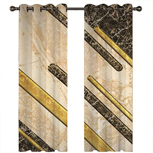 ANAZOZ Curtains For Bedroom 2 Panels Blackout Curtains,Marble Grain Gold,Polyester Curtains For Bedroom,264x183CM