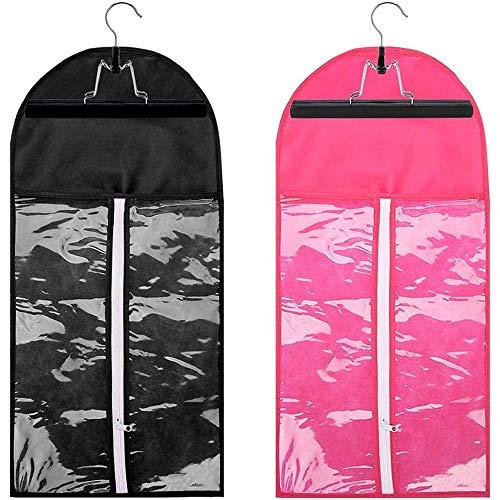 POFET 2pcs Fashion Hair Extensions Perücke Aufbewahrungstasche Halter Case Protector + Kleiderbügel - Schwarz und Pink