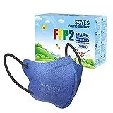 SOYES FFP2 Maschere 20 Pezzi, Mascherina 4 Strati Certificate CE con Elevata Permeabilità All'aria e Confezione Individuale - Blu