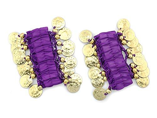 MyBeautyworld24 Belly-Dance Handkette (Paar) in lila m. goldfarbenen Münzen Armband Handschmuck Fasching Bauchtanzen