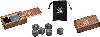 6X Whisky Stein Set, Eiswürfel aus Speckstein 2x2x2cm Grau 6er Set, in Holzbox B/H/T 10x6x3cm