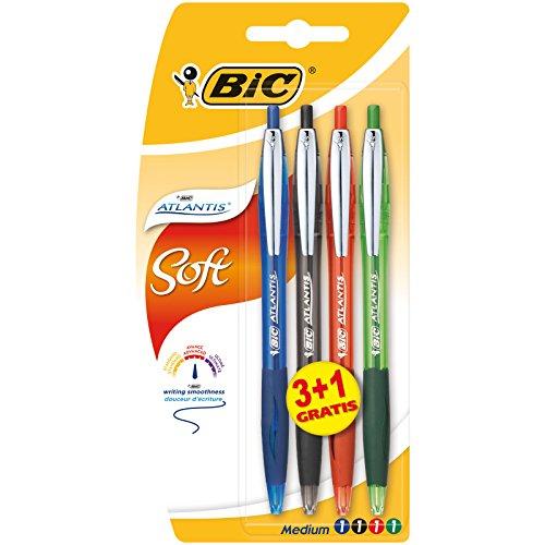 BIC Atlantis Soft bolígrafos Retráctiles punta media (1,0 mm) - colores Surtidos, Blíster de 3+1
