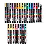 Uni Posca Paint Marker FULL RANGE Bundle Set , Mitsubishi Poster Colour ALL COLOR Marking Pen Fine Point ( PC-3M ) 24 Colours ( 17 Standard & 7 Natural ) Japan Import