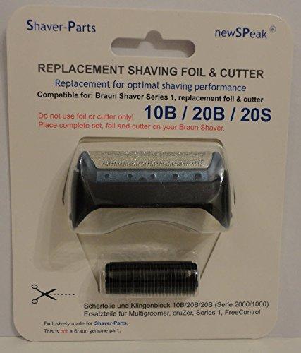 Alternative au rasoir électrique Braun et lame de coupe (lame) de remplacement 10B / 20B / 20S / 20R, Grille de Rasage et Block-Couteau
