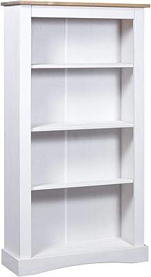 201 x 80 x 28 cm PEGANE Biblioth/èque avec 4 tablettes de Rangement Coloris Blanc Artic