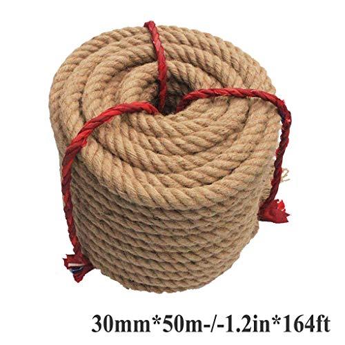 HQYMP Natürliches Dickes Jute-Seil Verdrehtes Manila-Seil Hanfseil (50m x 30mm) für das dekorative Landschaftsgestaltungsklettern des Handwerksdocks, Baum-hängendes Schwingschlepperkriegsseil