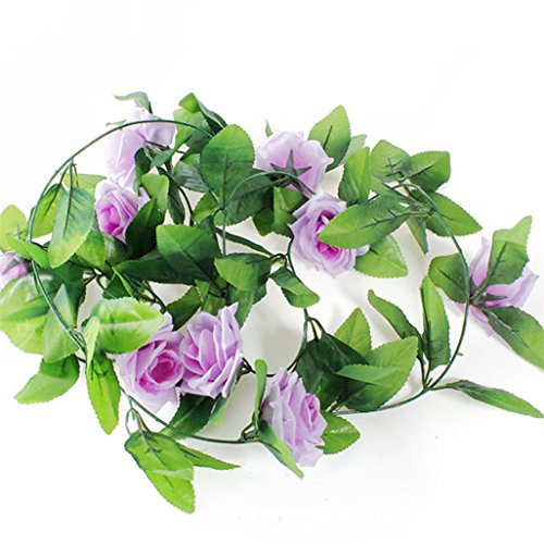 Super1798 Guirnalda de rosas artificiales para decoración de bodas y fiestas