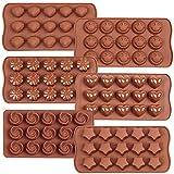 6 moldes de silicona para chocolate, sonrisa, estrella, concha, redondo, flor y corazón, molde de chocolate para cubitos de hielo, molde para bandeja para hornear dulces