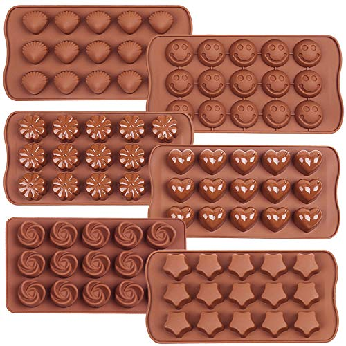 Iindes 6PCS Moules à Chocolat en Silicone,Sourire, Étoile, Coquille, Rond, Fleur et Coeur Moule À Chocolat Décoration De Gâteau Bar Ice Cube Bonbons Cuisson Plateau Moule(Chocolat)