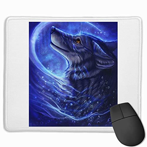 Blue Ocean Cool Wolf Art gepersonaliseerd ontwerp muismat Gaming muismat met gestikte randen muismatten, anti-slip rubberen basis, 9.8x12 inch, 3mm dik - Beste cadeau idee